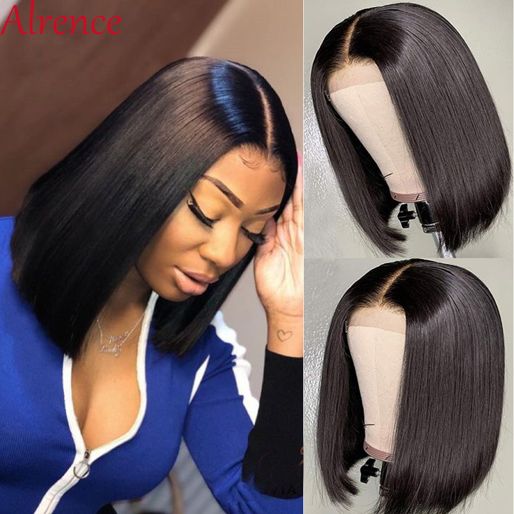 Brazilian Straight Lace Closure Wig Short Human Hair Wigs Bob Lace Front Wigs Lace Front Human Hair Wigs Summer Natural Hairline title=