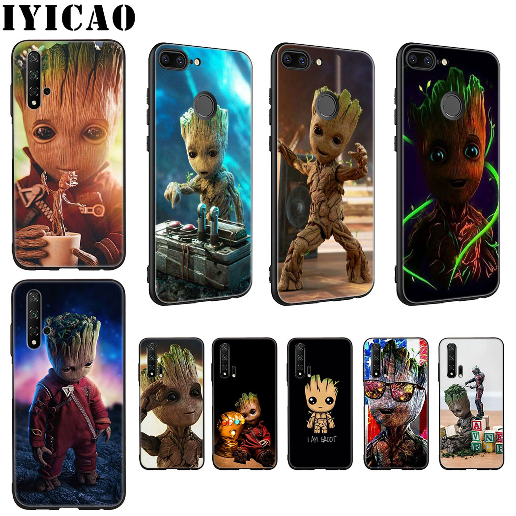 IYICAO <font><b>Marvel</b></font> I Am Groot Soft Silicone <font><b>Case</b></font> for Huawei <font><b>Honor</b></font> view 20 9X Pro 10 <font><b>9</b></font> 8 <font><b>Lite</b></font> 8X 8C 7X 7C Note 10 <font><b>Case</b></font> image