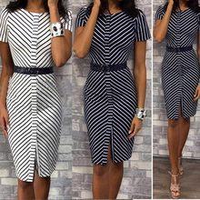 Mulheres vestido vintage plus size stripe pritn o-neck joelho vestido de moda verão casual solto feminino elegante vestido senhora do escritório