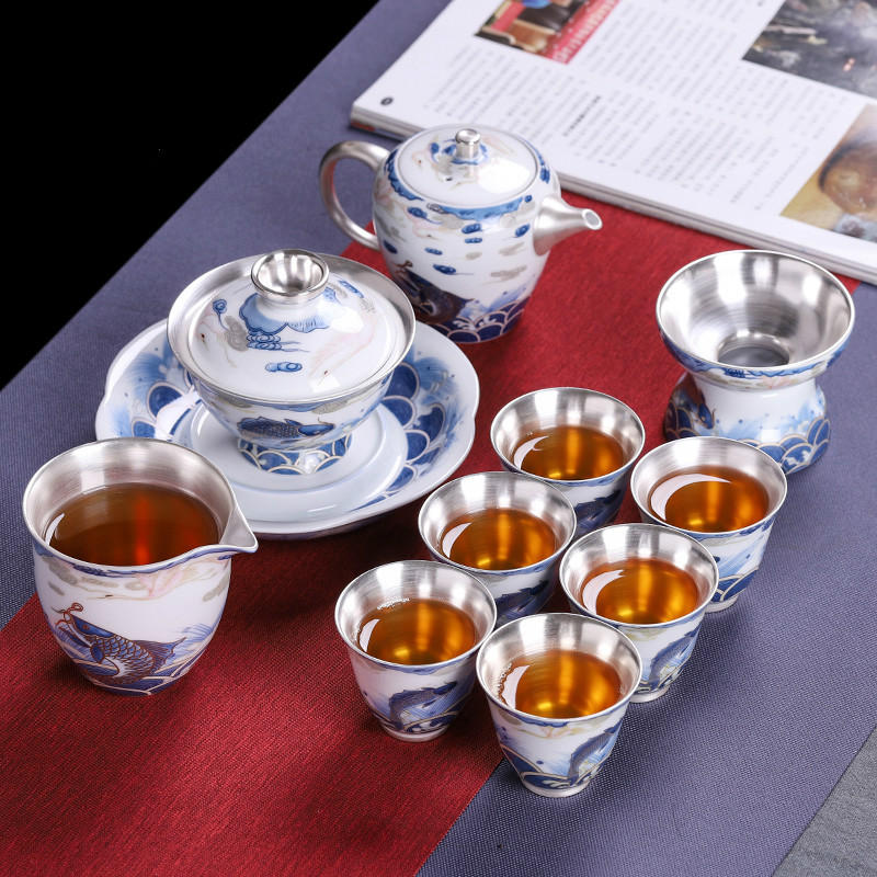 Porcelain Bag Silver Tea Set Simple Blue And White Porcelain 999 Tea Set Set Office Set Ceramic Kung Fu Tea Cup Tea Home