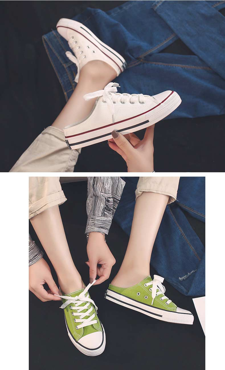 Casual half-drag canvas shoes woman 2019 new fashion solid sneakers women vulcanized shoes lace-up no heel lazy shoes flats (11)
