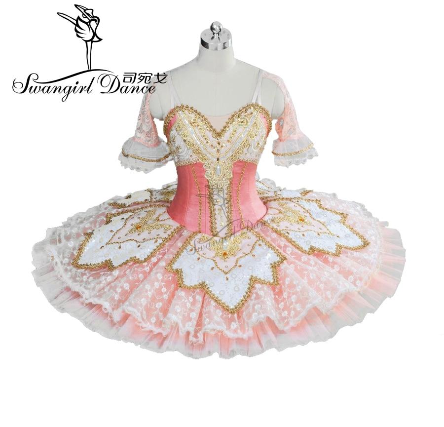 Rosa Pfirsich Fee Prinzessin professionelle Tutu Frauen Ballett Pfannkuchen Kostümplatte Bellrina Rosa Tutu BT9039