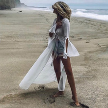 Women's Sexy Thin Mesh Long Sleeve Tie Front Swimsuit Swim Beach Maxi Cover Up Dress недорого