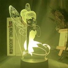 Fada tinkerbell figura 3d luz visual led night light princesa tinker bell decoração de casa cor mudando ilusão candeeiro mesa