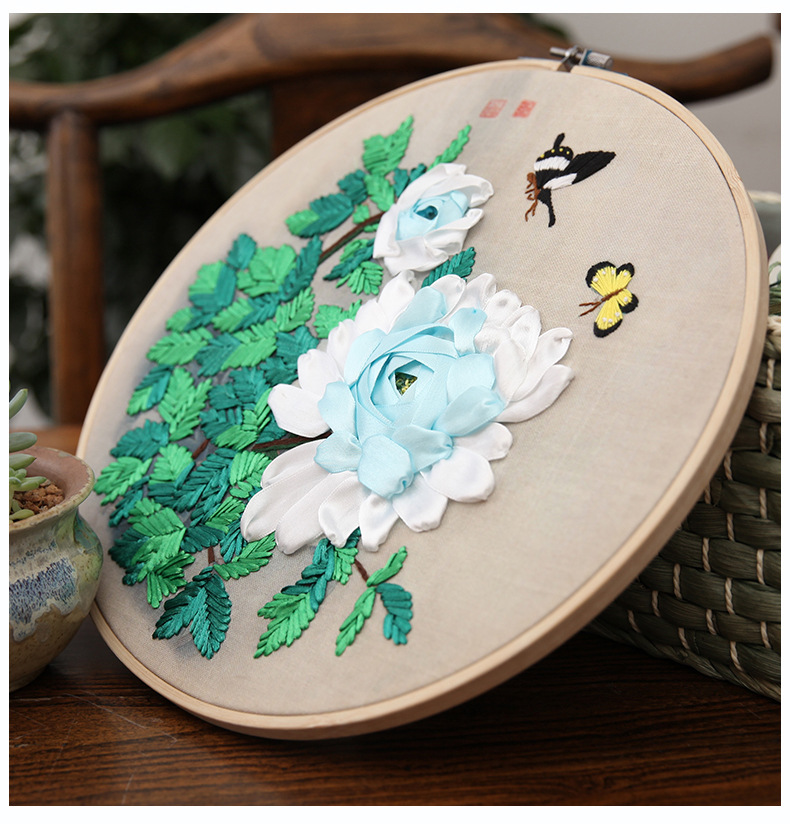 Ribbon Embroidery Handmade Embroidery DIY Material Ribbon Embroidery Beginners Get Started Ribbon Embroidery Suite Paintings