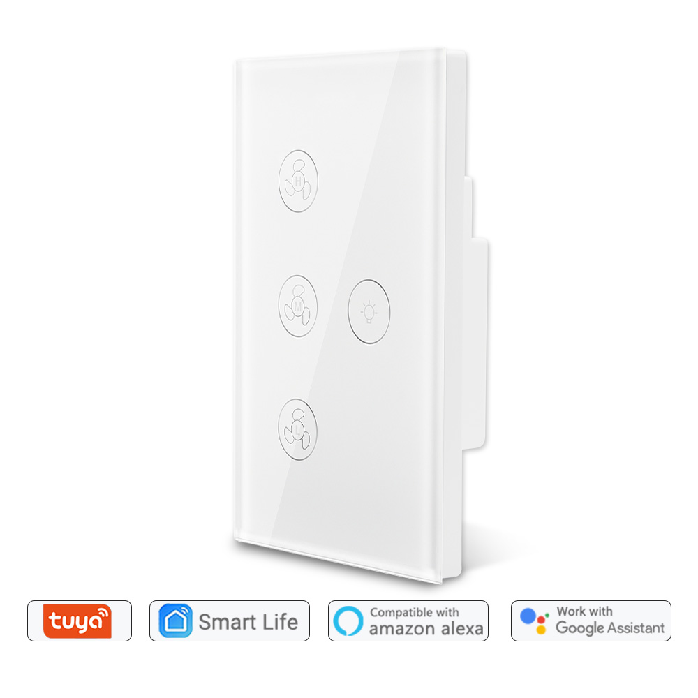 Tuya Smart Life WiFi Ceiling Fan Light Switch Google Home Amazon Alexa Voice Control App Timer Remote Control Smart Home DIY