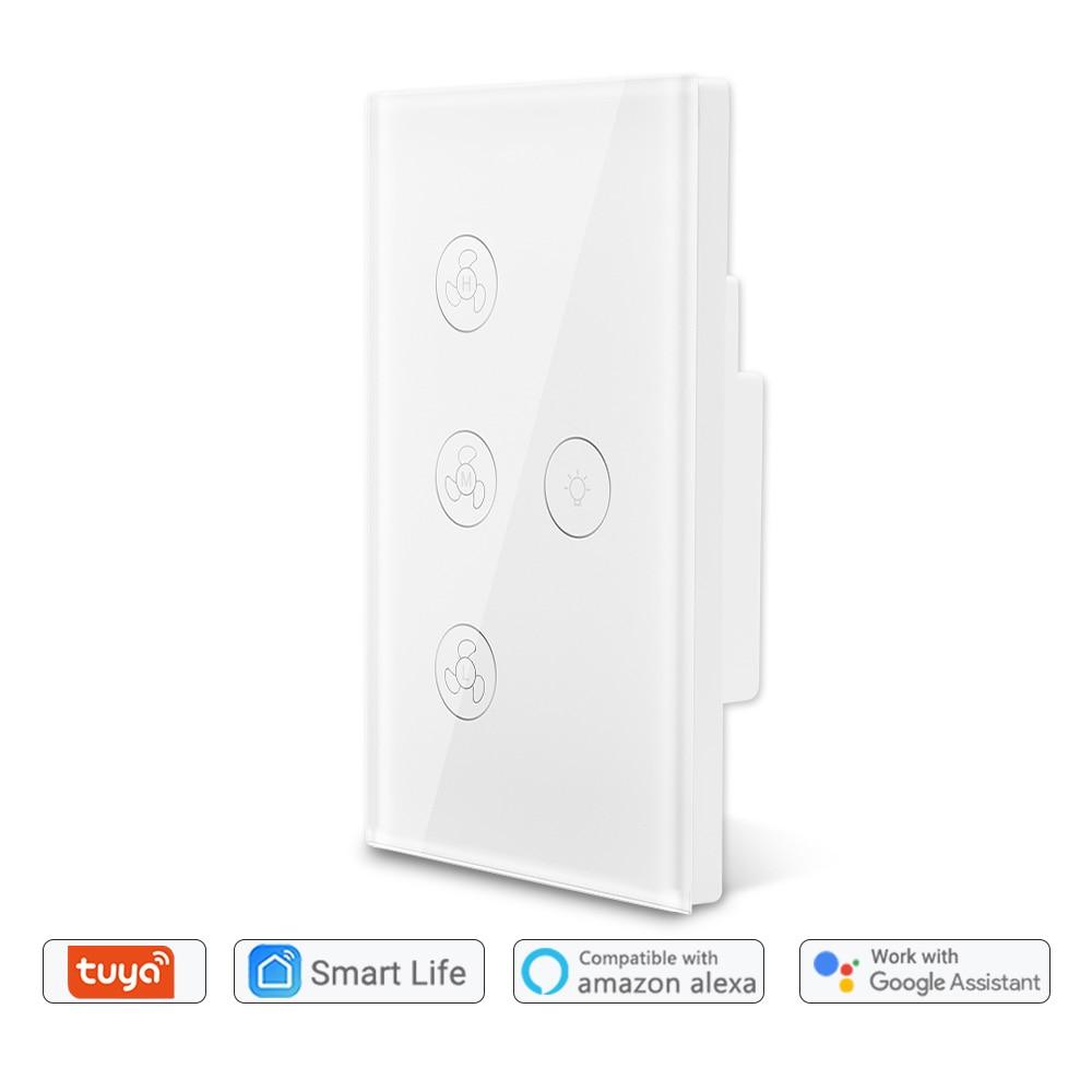 Tuya Smart Life WiFi Ceiling Fan Light Switch Google Home Amazon Alexa Voice Control App Timer Remote Control Smart Home DIY