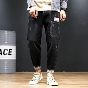 Image 3 - שחור ג ינס גברים ג ינס הכחול ז אן במצוקה Mens Jogger מכנסיים היפ הופ הרמון למתוח איש נער מכנסיים בתוספת גודל 42 44 46 48