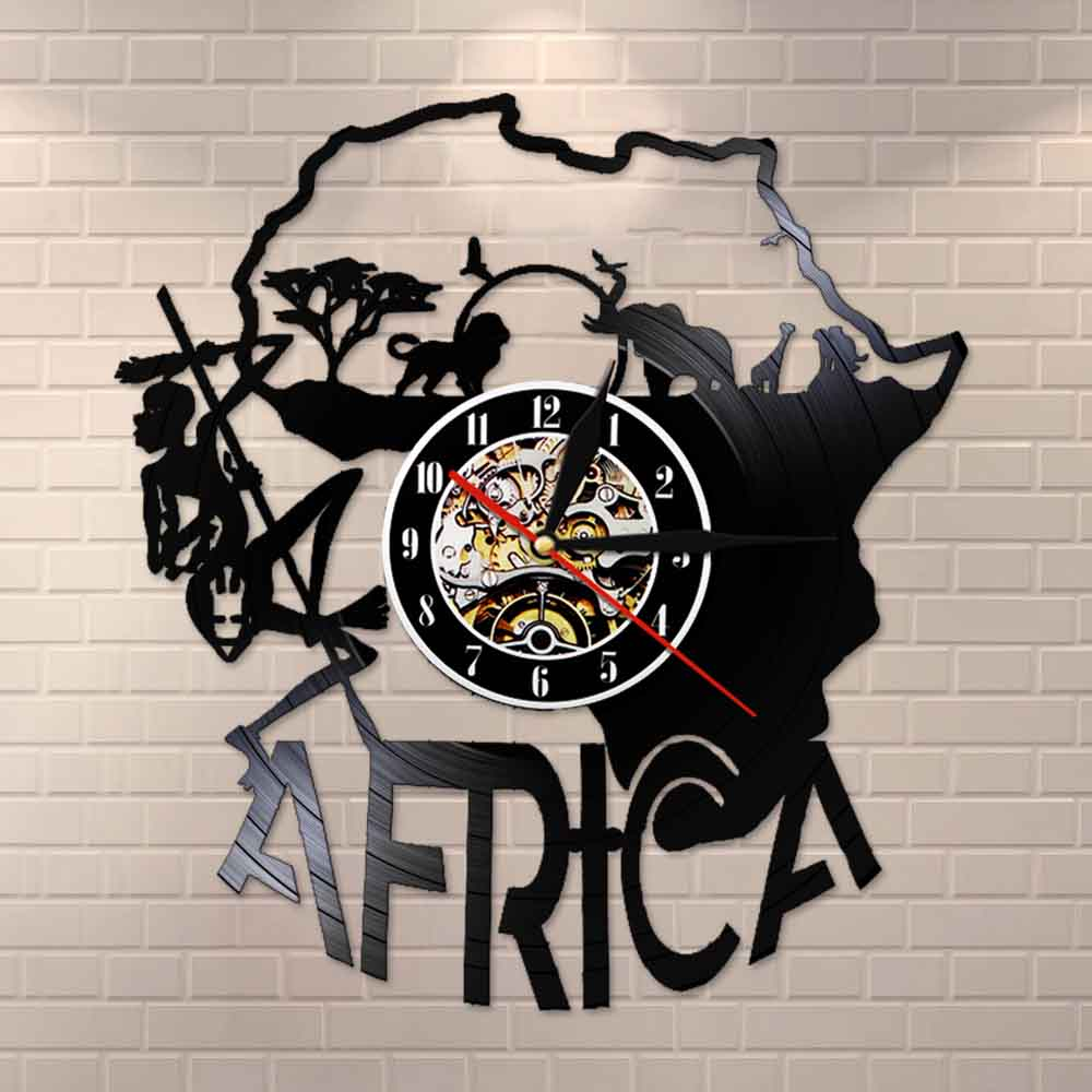 Africa Decor Vinyle Record Wall Clock Africa Artwork Laser Cut Wall Clock Night Light Function Handmade Gift For Any Occasion