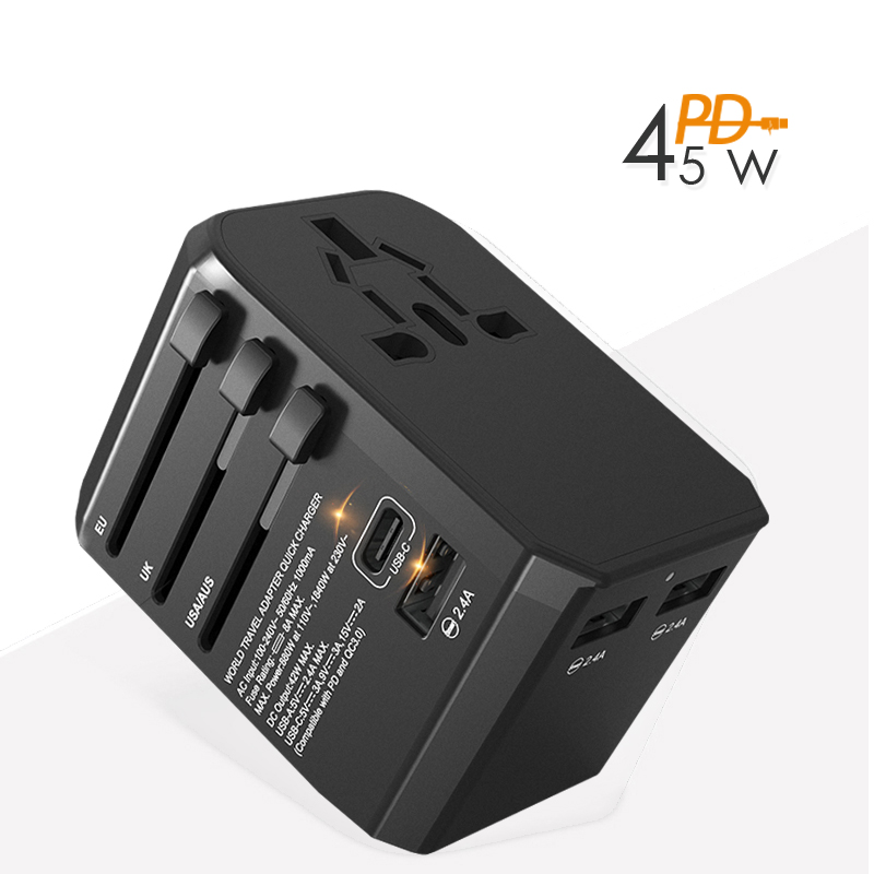 45W PD Universal Travel Adapter with type-c PD45W QC3 4 wall Charger for Macbook Pro Ipad Pro2018 tablet pc laptop charger usb c