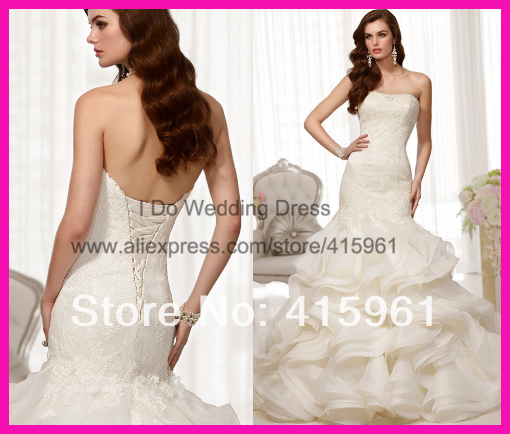 2019 New Design Ivory Lace Strapless Organza Ruffles Mermaid Vestido De Noiva Bridal Wedding Dress Corset Back W2785