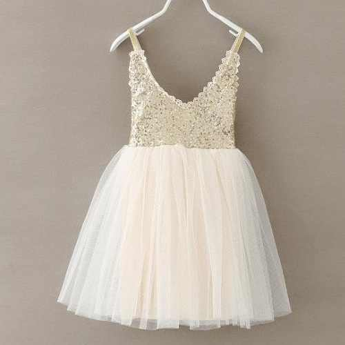 Cute Girls Silver Sequin Tutu Dress Kids V-neck Beige Glitter Bling Straps Chiffon Dress Children Wedding Party Dresses 1-7Y