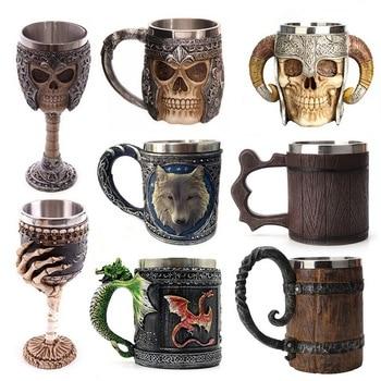 hot Retro Horn Skull Resin Beer Mug Stainless Steel Skull Knight Tankard Halloween Coffee Cup Viking Tea Mug Pub Bar Decoration