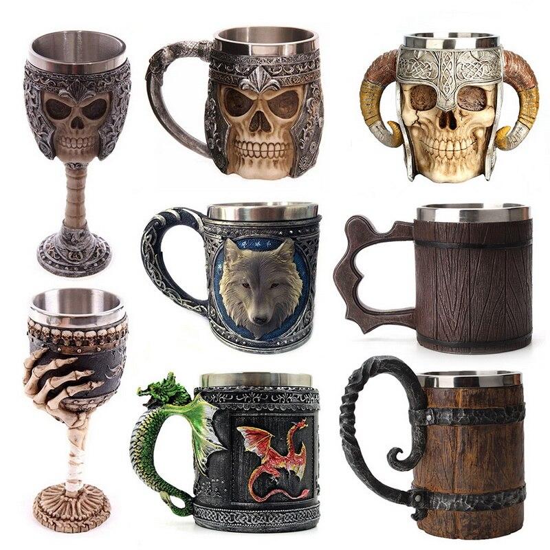 Hot Retro Horn Skull Resin Beer Mug Stainless Steel Skull Knight Halloween Coffee Cup Viking Tea Mug Pub Bar Decoration(China)