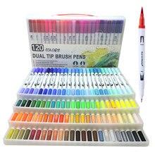 120 Uds pincel de Punta doble de colores bolígrafos marcadores pintados a mano acuarela artística Fineliner pintura de dibujo Papelería para Manga de colores