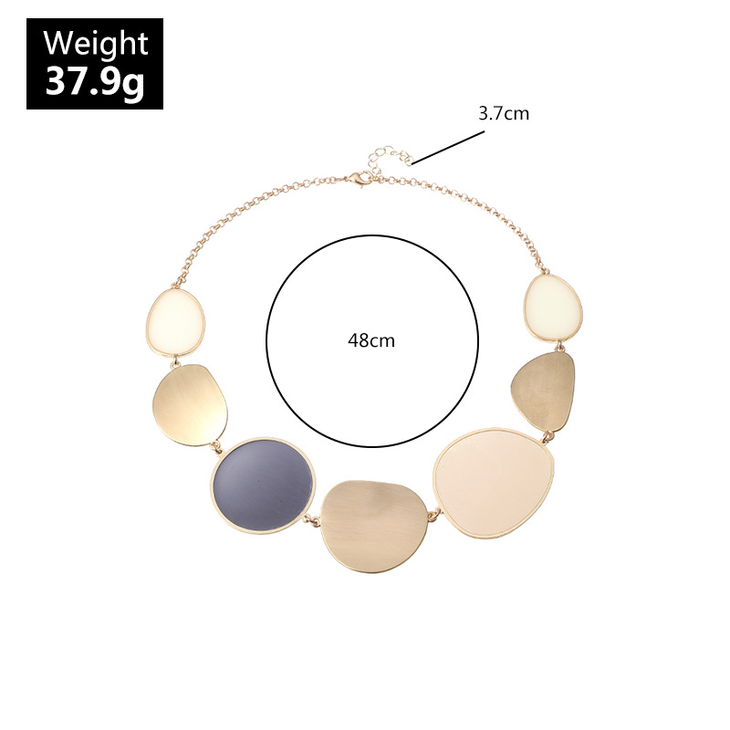 Exaggerated Big Statement Gold Metal Enamel Choker Necklace for Women Female Party Short Collar Clavicle Chain Necklace Jewelry