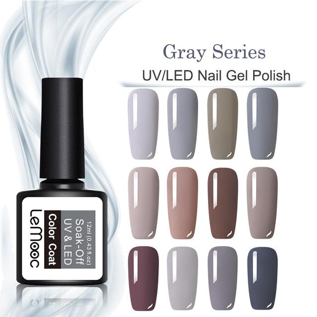 LEMOOC 8ml Matte Top Coat Color UV Gel Nail Polish Gray Series Semi Permanent Soak Off UV Gel Varnish DIY Nail Art Gel Paint 3