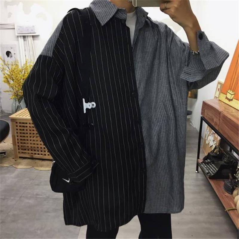 Long Sleeve Patchwork Shirts Mens Cool Harajuku Striped Shirts Male Casual Cool Shirts Streetwear Fashion 2019 Korean Shirt Male