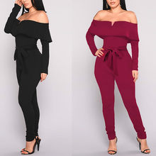 Bare Shoulders Jumpsuit Long Sleeves with Waist Belt Backelss Sexy Women Fashion Autumn Plus Size XL Large Size Ladies Rompers(China)