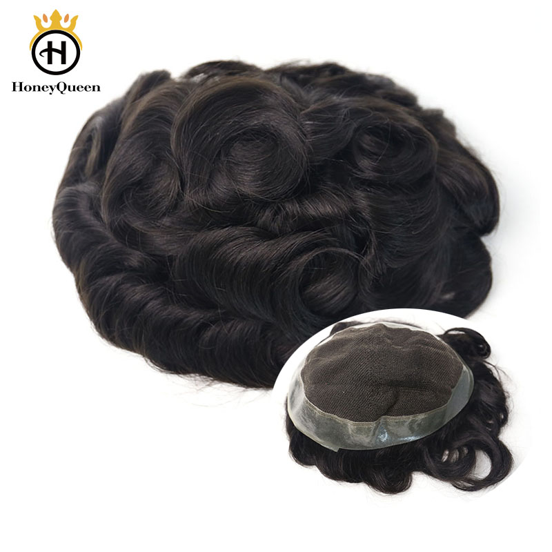 Hair Toupee Men Poly Around Natural Looking 100% European Human Hair Lace & PU Toupee Replacement System 1B# Color Remy