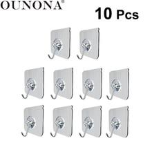 OUNONA 10 шт. настенные крючки сверхпрочная прозрачная кухонная настенная вешалка клейкая вешалка для полотенец подвесной крючок без ногтей потолочная настенная вешалка для ванны