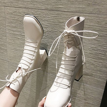 Women's Shoes Heel Ankle-Boots Square Lace-Up Front Autumn Winter Zip Side-Zipper Toe-Thick