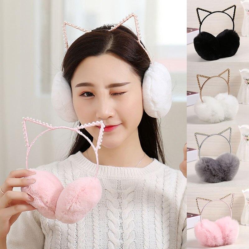 2019 New Arrival  Rhinestone Cat Ears Warmer Earmuffs Fashion Women Girl Fur Winter Cat Ear Muffs Earlap Glitter Sequin Earmuffs