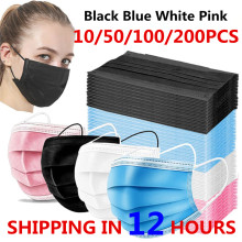 10-200pcs Disposable Mask Non-woven Face Masks 3 Layer Ply Filter Anti Dust Breathable Adult Mouth Mask Black Protective masks