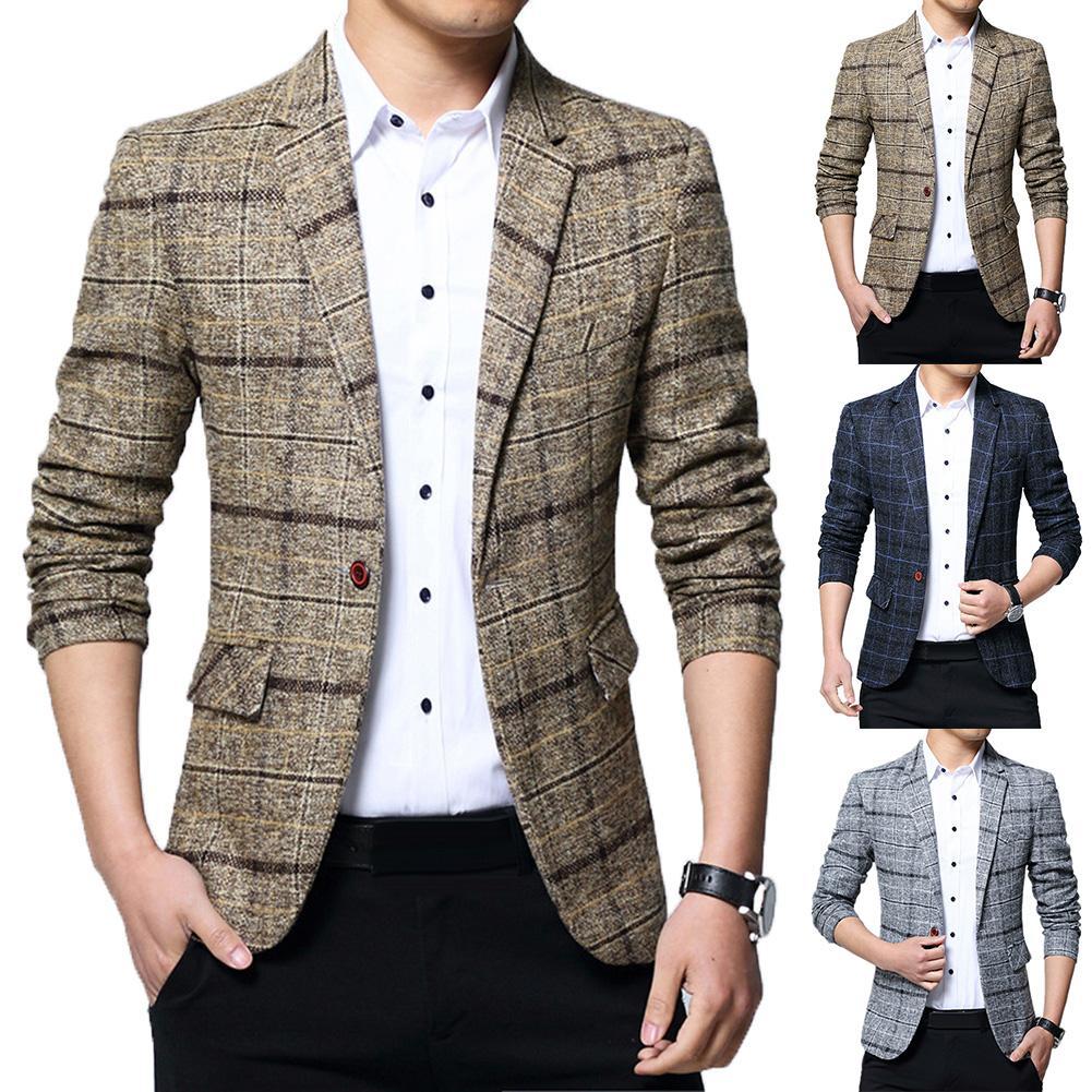 2020 Men Plaid Lapel  Blazer  Brand Clothing Jacket Men's Plaid Suit Jacket Men Blazer Fashion Slim Male Casual Blazers Men