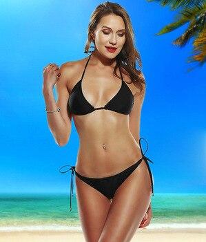 2019 New Bikini Sexy Plain Two-Piece Swimsuits Thong Bikini Two Piece Swimsuit Mini Bikini Sexy plain cami bikini set
