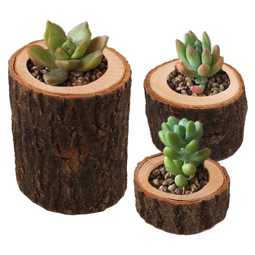 Candle Stand Set Creative Wooden Bark