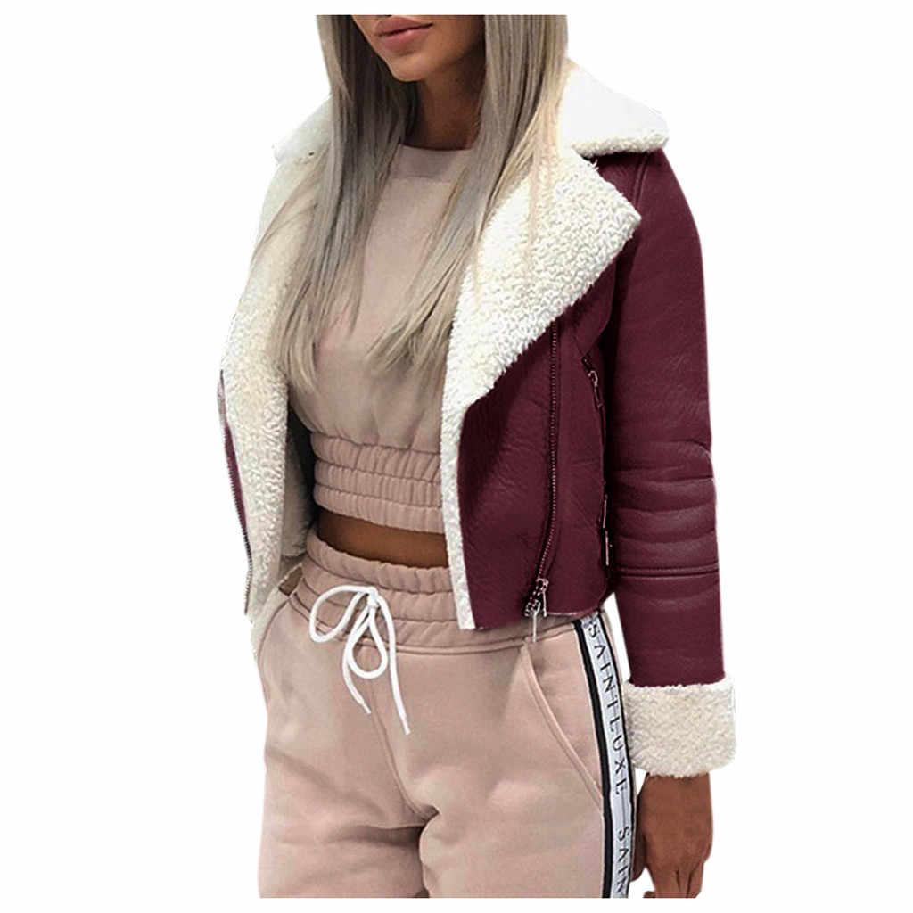 Jaket Dasar Wanita Suede Kulit Hangat Jaket Ritsleting Depan Mantel Lebih Tahan Dr Faux Domba Wol Lebih Tahan Dr Pakaian Jaket Bomber Pendek