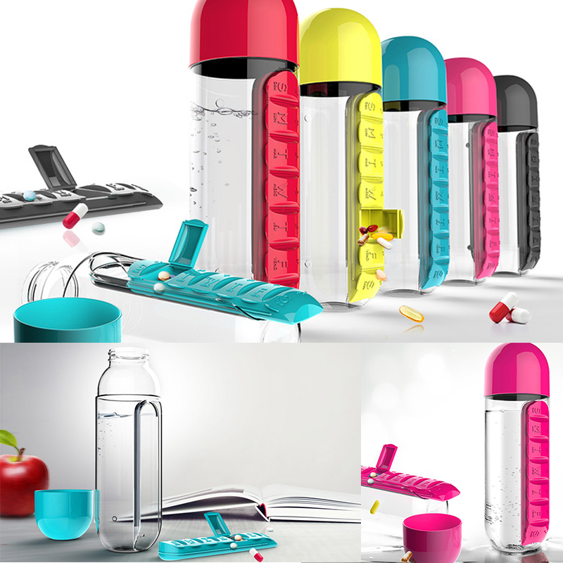600 ML Wasser Flaschen Kunststoff Trinken Flasche Mit Pille Reise Box Organizer Trinken Mein Drink Kaffee & Tee Werkzeuge. Hydro glaskolben-in Wasserflaschen aus Heim und Garten bei title=