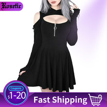 Rosetic Women Hoodie Dress Goth 봄 캐주얼 피트니스 Black Hooded Streetwear Girl 섹시한 Pleated Hollow Off Shoulder Mini Dresses(China)