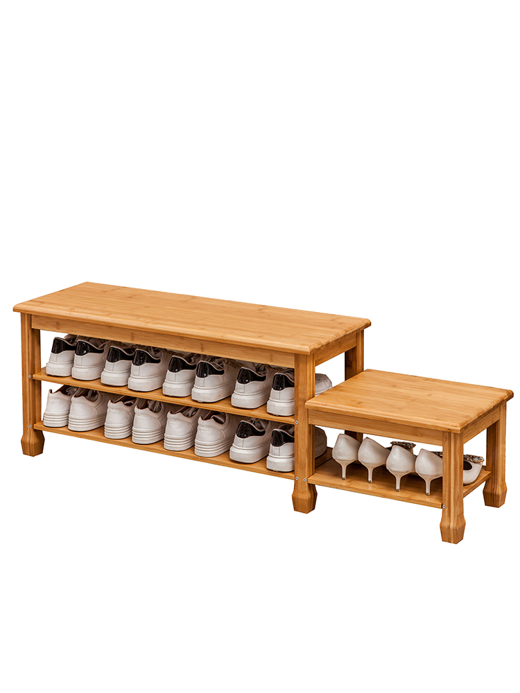 Bamboo shoe rack simple household space saving multi-function dust-proof multi-layer door small shoe can sit Shoe bench