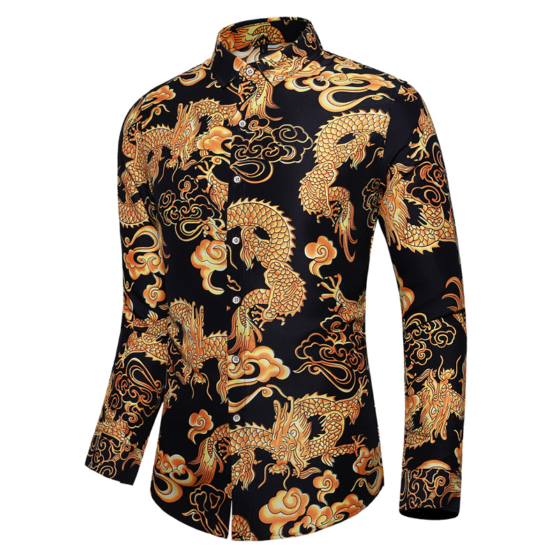 2019 Autumn Fashion Chinese Style Men Shirt Long Sleeve Print Plus Size 7xl Dragon Embroidery Casual Shirt Men