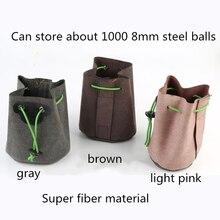 Novo couro de aço saco bola estilingue bolsos super fibra estilingue saco forte arco aço bola sacos ao ar livre caça tiro ferramentas