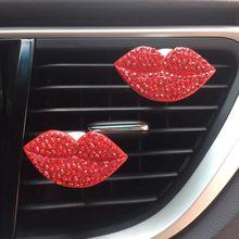 1 pçs de cristal lábios carro purificador de ar auto tomada perfume clipe interior acessórios do carro-estilo ventilação difusor de fragrância sólida