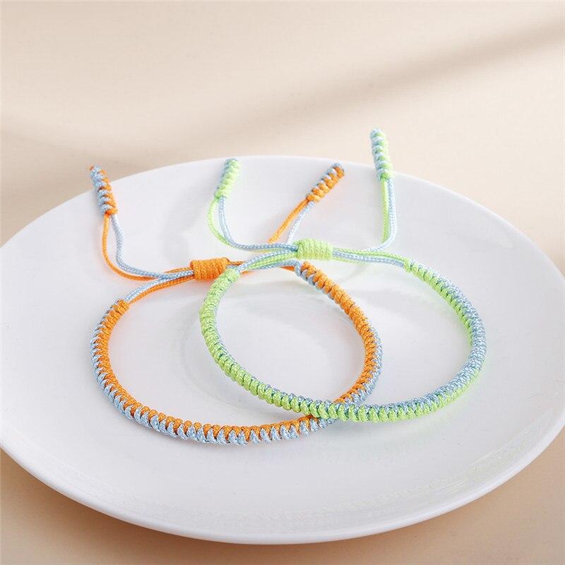 Bohemian Braided Rope Bracelet Handmade Lucky Rope Knot Bangles Lovers Gift Tibetan Woven Bracelet Women Men Fashion Jewelry