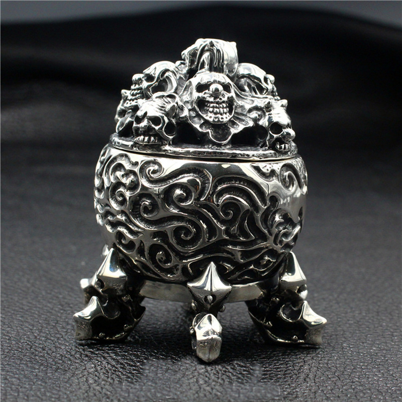 Skull Incinerator 925 Sterling Silver Handmade Thick Ornaments Punk Retro Domineering Six Feet