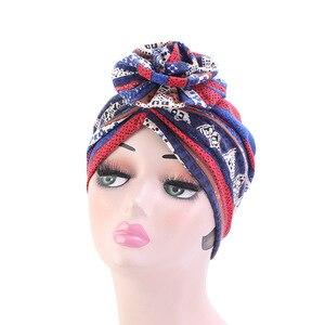 Image 5 - New fashion Elegante 3D Fiore Turbante Delle Donne Cancro Chemio Berretti Berretti Musulmano Turbante Hijab Partito Copricapi accessori per Capelli