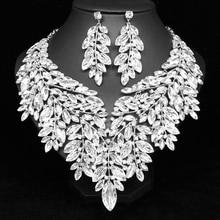 فاخر كبير كريستال بيان قلادة أقراط دبي مجموعات مجوهرات الزفاف الهندي حفل زفاف المرأة موضة مجوهرات مخصصة حسب الطلب