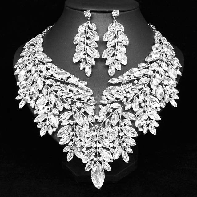 Luxury Big Crystal Statement Necklace Earrings Dubai Jewelry Sets Indian Bridal Wedding Party Womens Fashion Costume Jewellery