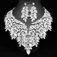 Luxury Big Crystal Statement Necklace Earrings Dubai Jewelry Sets Indian Bridal Wedding Party Women's Fashion Costume Jewellery