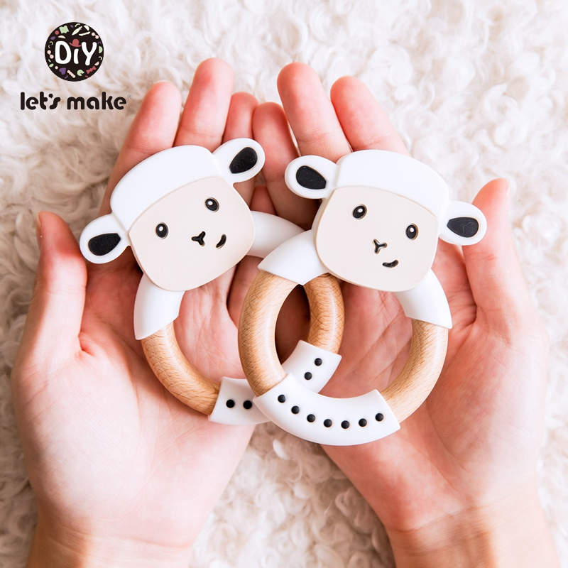 Let's Make Wooden Ring Baby Teether Animals Teething Ring Rabbit Sheep Elephant BPA Free 1PC 60mm Teething Toys Silicone Teether