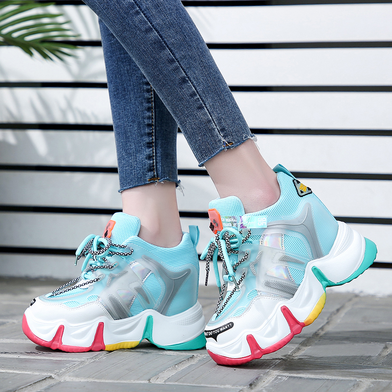 Rimocy Spring Breathable Chunky Platform Sneakers Women 2020 Fashion Colorful Heels Vulcanized Shoes Woman Hidden Wedge Sneakers