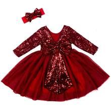 Осенне-зимнее платье с длинными рукавами для девочек; Вечерние платья-пачки с блестками для дня рождения; Новое модное рождественское плать...