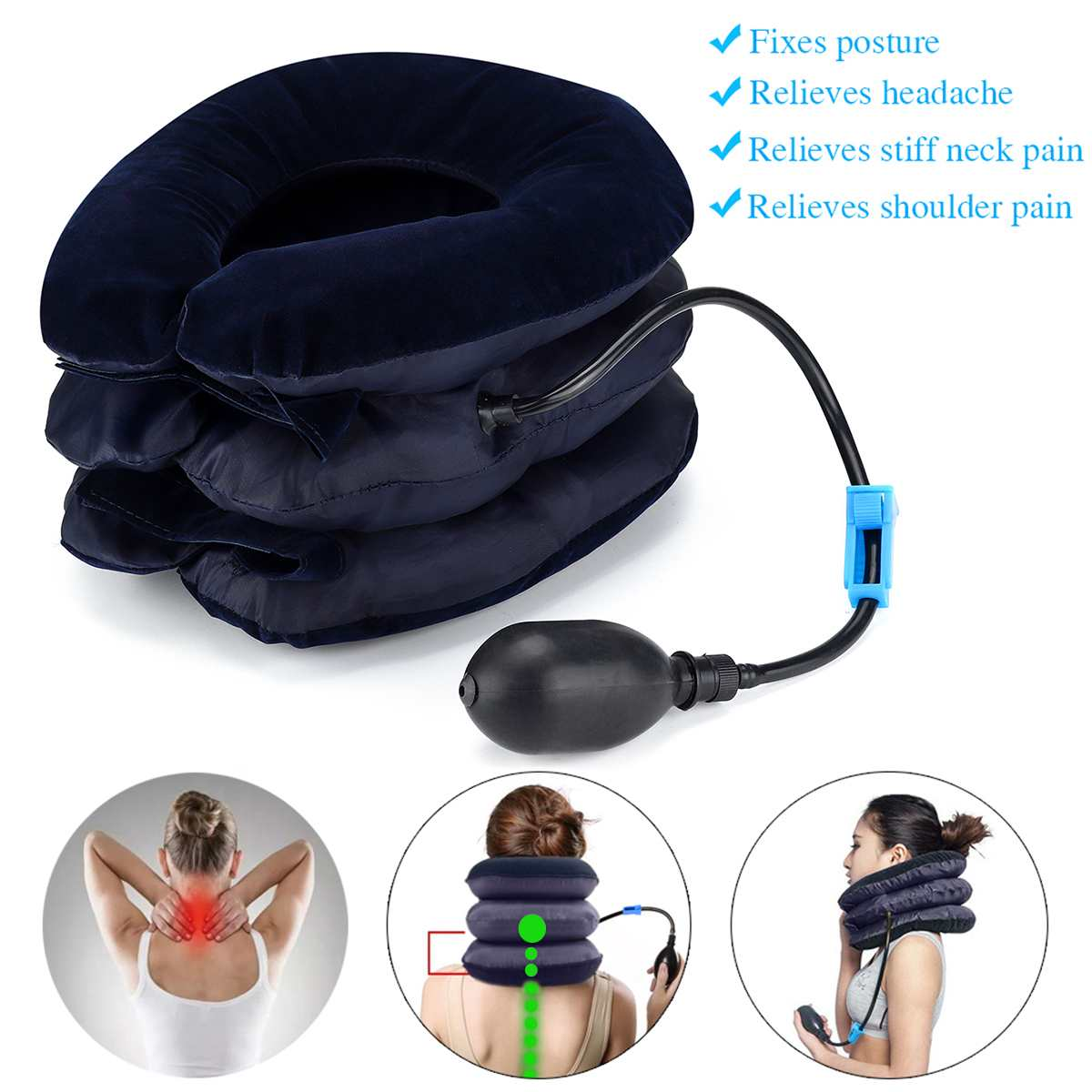 Neck Tractor Inflatable Air Inflatable Pillow Cervical Neck Head Traction Support Massage Neck Brace Pain Relief Device