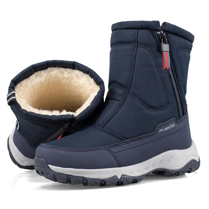 Winter New Thick Couple Snow Boots Plus Velvet Warm Side Zipper Outdoor Casual Short Boots Cold Resistance Men Cotton Shoes 45