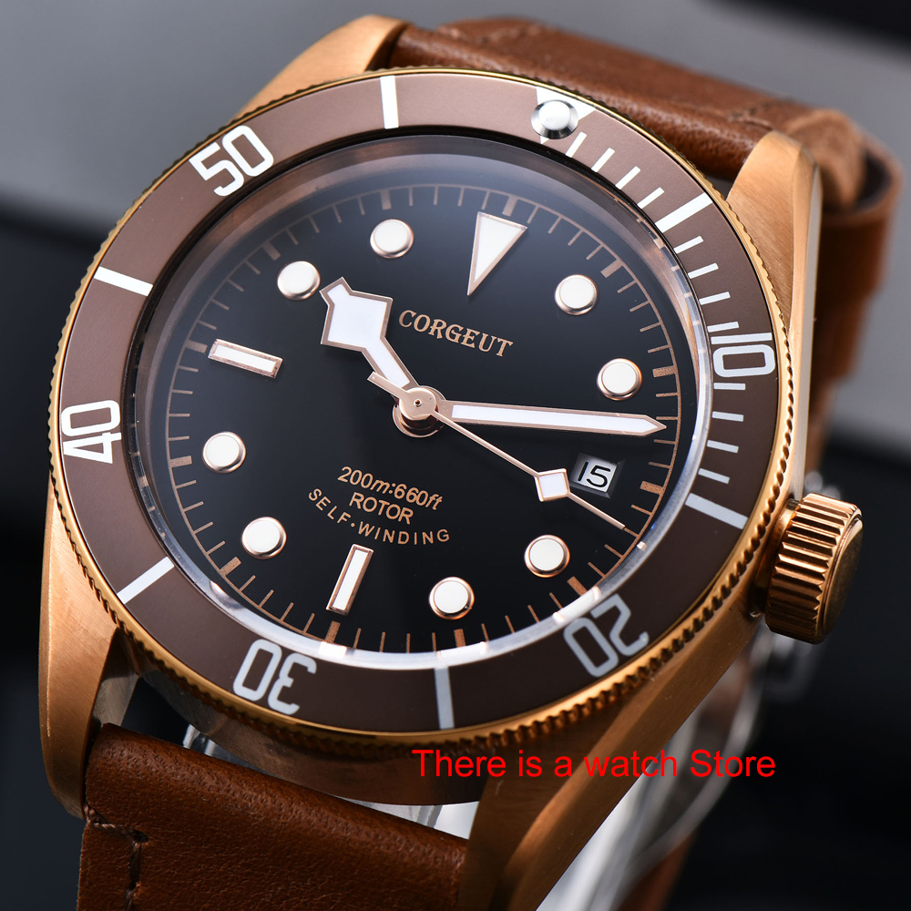 Corgeut 41mm Automatic Watch Men Military Schwarz Bay Wristwatch Leather Strap Luminous Waterproof Sport Swim Mechanical Watch